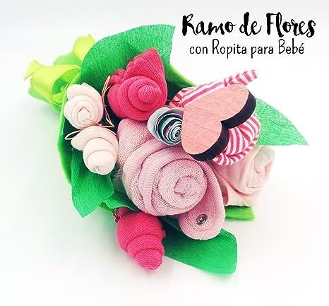 Ramo de Flores realizado con Ropita para Bebé (1 Body, 2 pares de Calcetines, 1 Gorrito, 1 Babero) | Regalo Original para Recién Nacidos | Todo es de ...