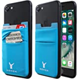 Monca Credit Card [Double Secure] Holder Stick on Wallet Discreet ID Holder Lycra Spandex Card Sleeves [Lid & Pocket] iPhone 6s 7 Samsung Galaxy s8 and Blu Smartphones (Blue)