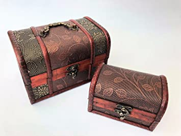 Attirant Set Of 2 Small Wooden Vintage Pirate Treasure Chest Antique Trinket Storage  Box