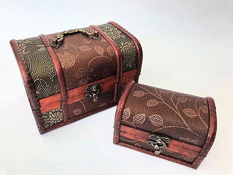 Conjunto de 2 cajas de almacenamiento de baratija antigua de cofre del tesoro de madera pequeña