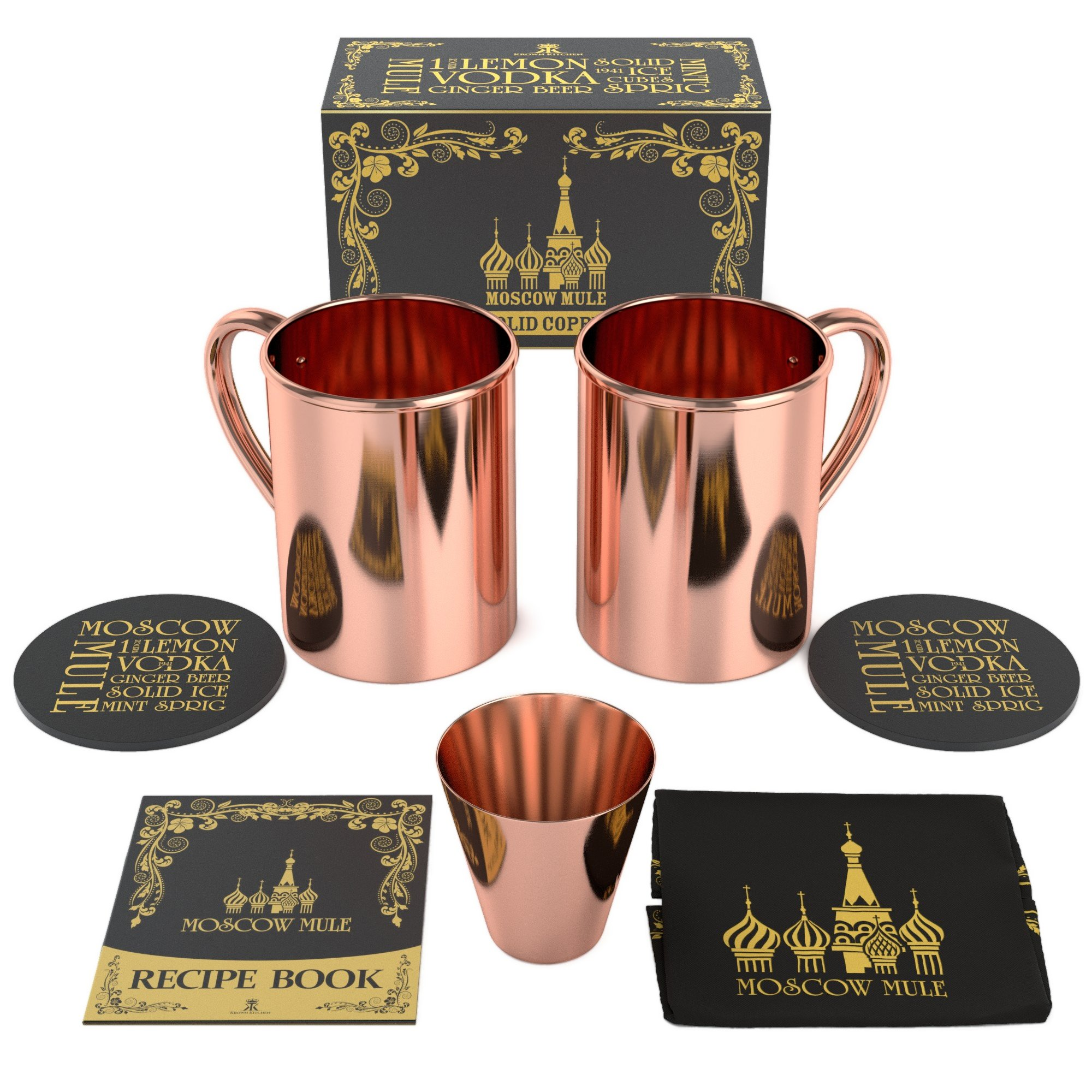 Krown Kitchen - 100% solid moscow mule copper mug (2) by Krown Kitchen (Image #4)