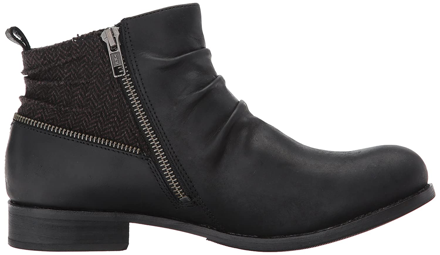 Caterpillar Women's Kiley Pleated Leather Bootie with Tweed Accents Ankle Boot B01NCKZ3ZN 8 B(M) US|Black Tweed