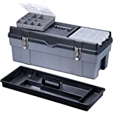 Stack-On GMR-26RPS 26-Inch Deluxe Professional Plastic Tool Box with Removable Parts Storage, Red