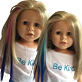 Clip In Hair Extensions Light Blue/Blue & Pink/Purple for 18 inch Dolls and American Girl Dolls - Doll Wig Piece in Light Blue/Blue & Pink/Purple- Hair Extensions for 18 inch Dolls