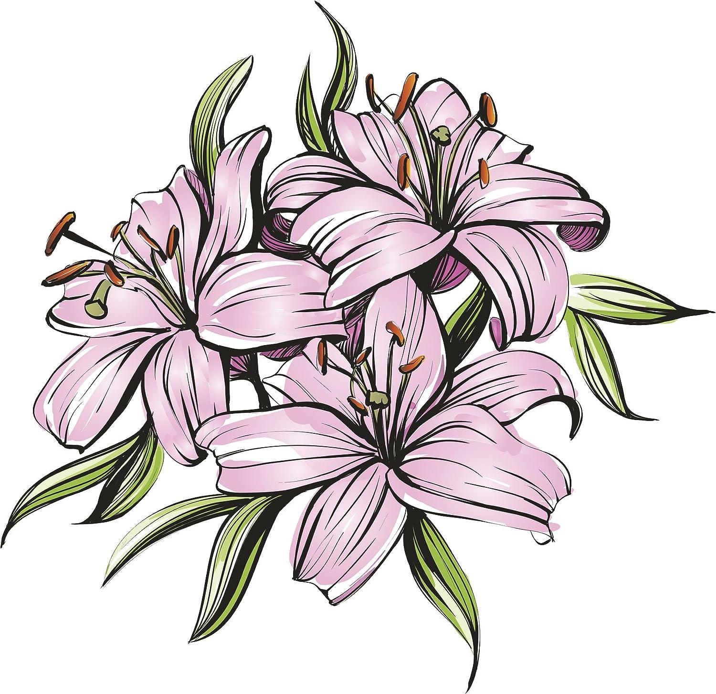 Beautiful Flowers Pen Art Cartoon , Lilies Vinyl Decal Sticker (All Sizes)