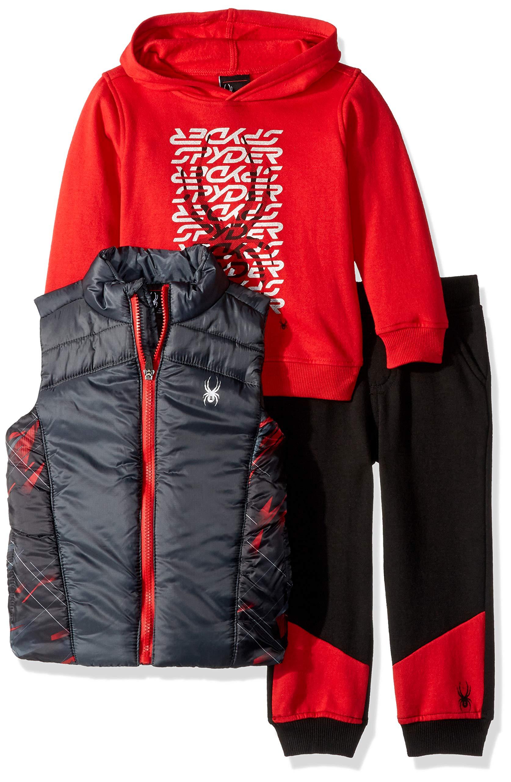 Spyder Boys' Toddler 3 Pieces Vest Set, Gray/red, 2T