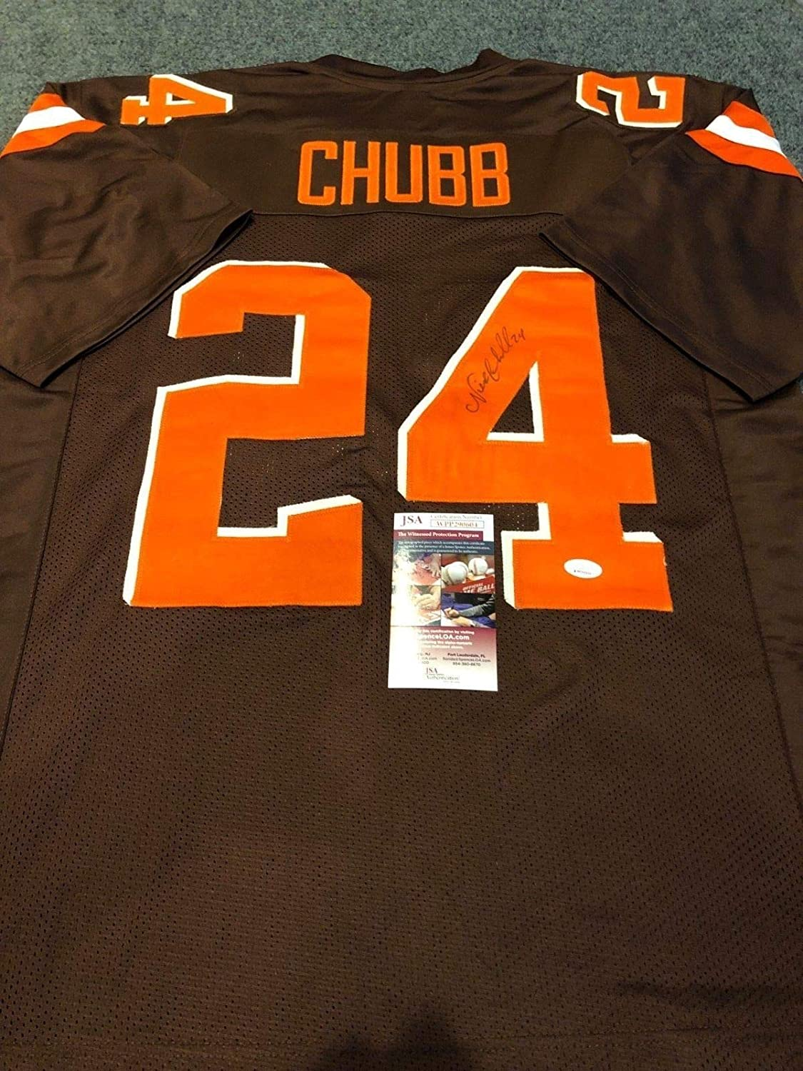buy popular c2ac3 e0e7f CLEVELAND BROWNS NICK CHUBB AUTOGRAPHED SIGNED JERSEY JSA ...
