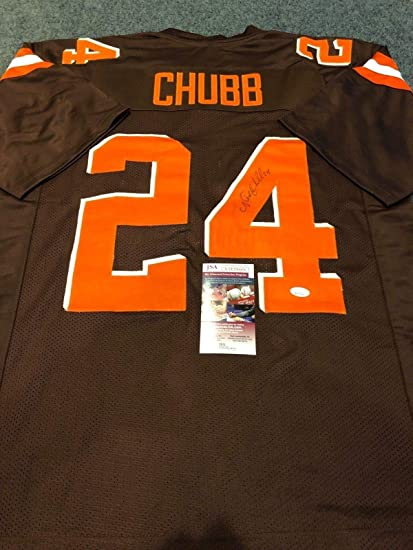 219a13046cf Image Unavailable. Image not available for. Color  CLEVELAND BROWNS NICK  CHUBB AUTOGRAPHED SIGNED JERSEY JSA COA