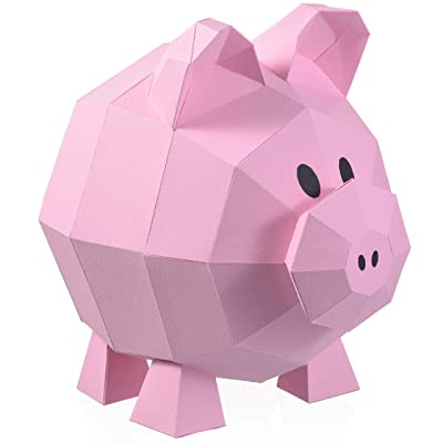 Paperraz DIY 3D Pig Sculpture Puzzle Low Poly PaperCraft Building Kit - NO Scissors Needed: Toys & Games