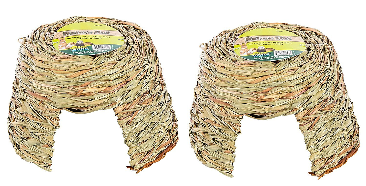 (2 Pack) Ware Nature Willow and Grass Pet Hut, Size Large