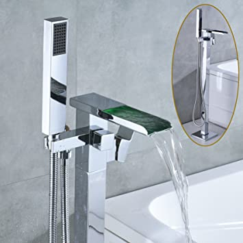 Rozin Floor Mounted Led Light Waterfall Bathtub Faucet With Handheld