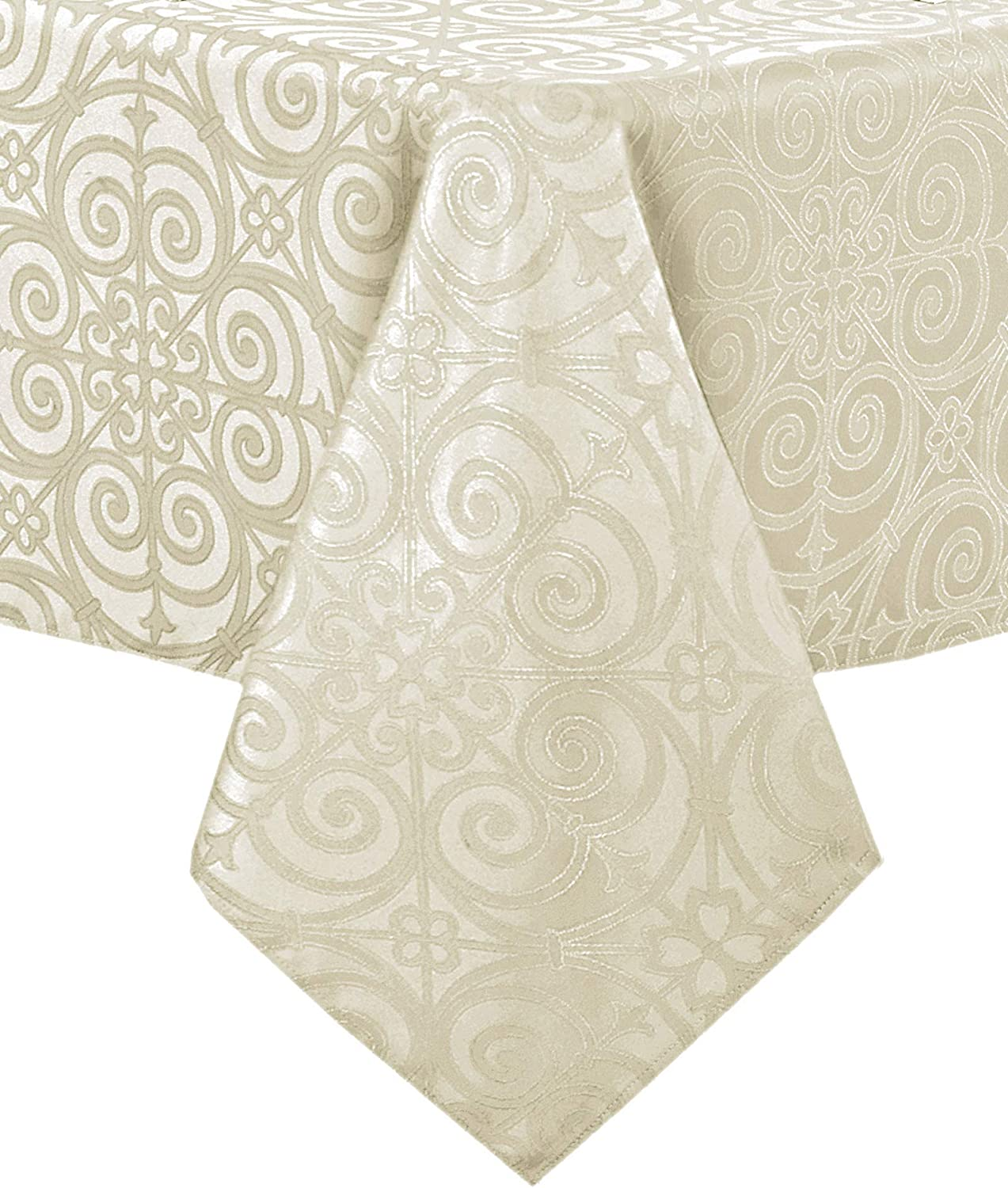 Newbridge Ironworks Scroll Damask Fine Dining, Party and Banquet Fabric Tablecloth, Contemporary Damask Soil Resistant, No Iron Tablecloth , 70 Inch Round, Ivory
