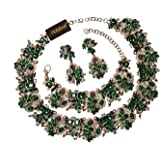 Holylove 6 Colors Statement Necklace Earrings Bracelet for Women Novelty Costume Jewelry 1 Set with Gift Box