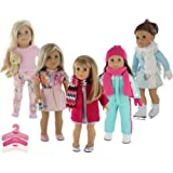 PZAS Toys 5-Pack Holiday and Winter Outfit Set for 18-Inch American Girl Doll