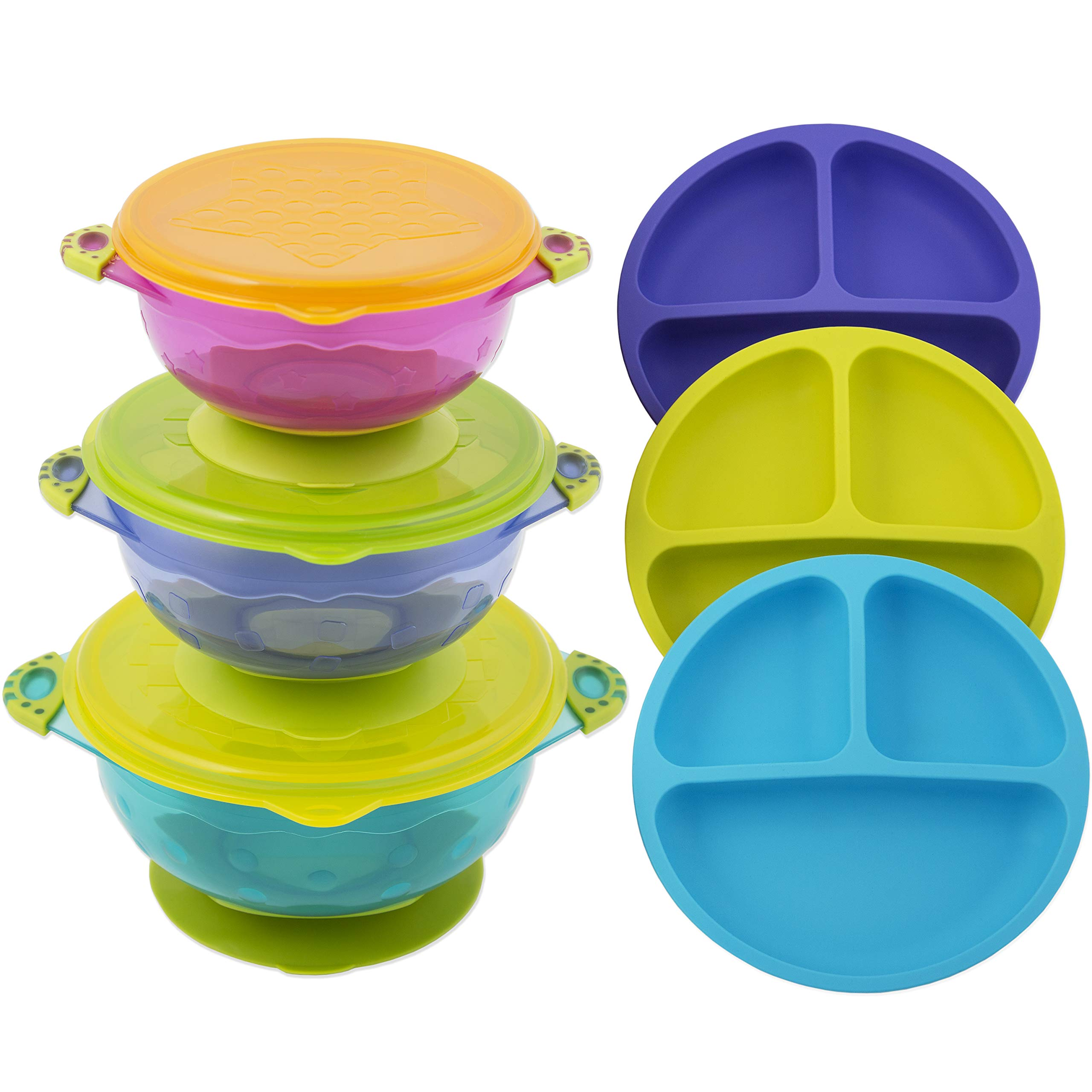 Toddler Plates and Bowls | Baby Bowls with Suction in 3 Different Sizes w/Air Tight Lid | Divided Silicone Plate - Unbreakable, Easy Clean & Perfect for Fussy Eaters | Baby Feeding Set by EVLA'S