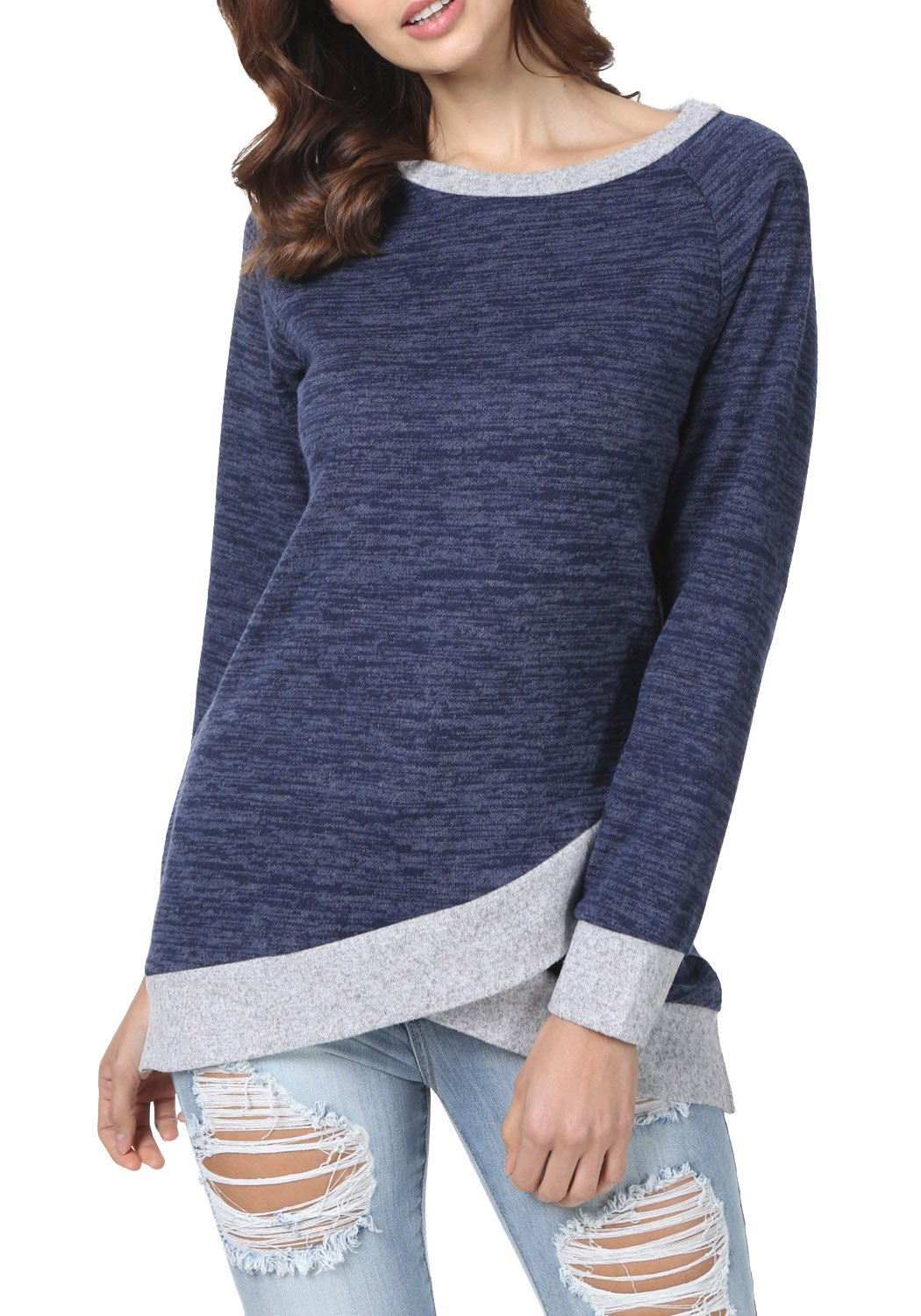 levaca Womens Long Sleeve O Neck Cross Loose Fit Casual Blouse Tunic Tops Blue M by levaca (Image #2)