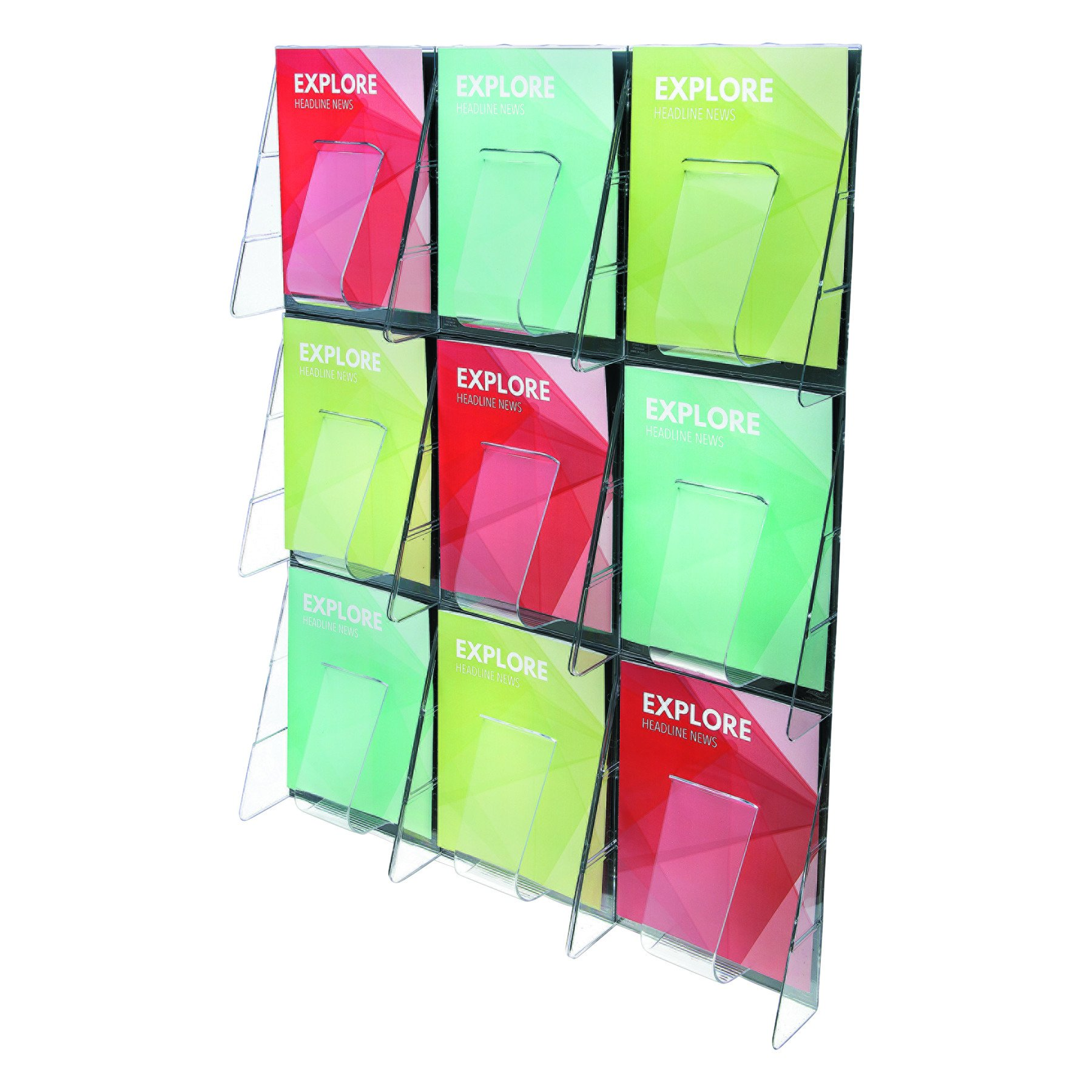 Deflecto 56801 Stand-tall 1-piece literature rack for magazines, 9 unbreakable pockets, clear