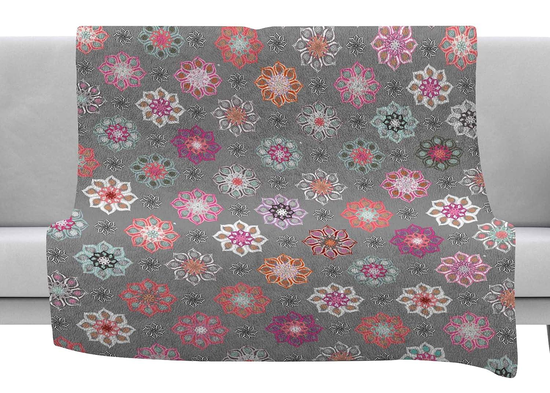 80 x 60 Fleece Blanket Kess InHouse Jolene Heckman Mini Floral Pink Gray Throw