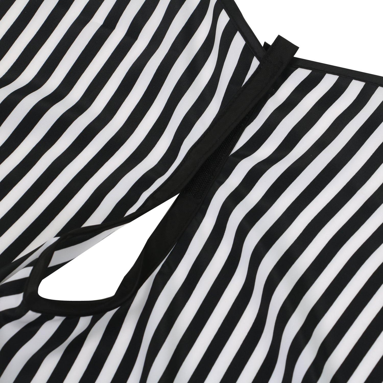 TRIXES Vestido Capa Ajustable para Hombros a Rayas Blancas y Negras para Peluqueros Barberos: Amazon.es: Belleza