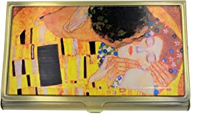 Value Arts Gustav Klimt The Kiss Business Card Case, Brass and Glass