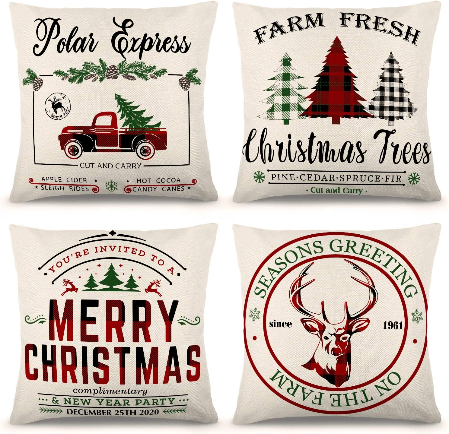 YGEOMER Christmas Pillow Covers 18×18 Inch Set of 4 Black and Red Buffalo Plaid Farmhouse Pillow Covers Holiday Rustic Linen Pillow Case for Sofa Couch Christmas Decorations Throw Pillow Covers