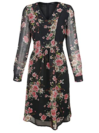KLiNGEL Damen Kleid aus Webware Fließend: : Bekleidung