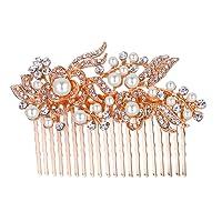 Ever Faith Austrian Crystal Bridal Hair Comb Flower Art Deco Cream Simulated Pearl Rose Gold-Tone Clear 20 Teeth N00414-4