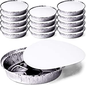 DecorRack Round 9 Inch Aluminum Pans with Flat Board Lid, Heavy Duty Tin Foil Pans, Perfect for Reheating, Baking, Roasting, Meal Prep, To-Go Containers, Environmentally Friendly (Pack of 14)