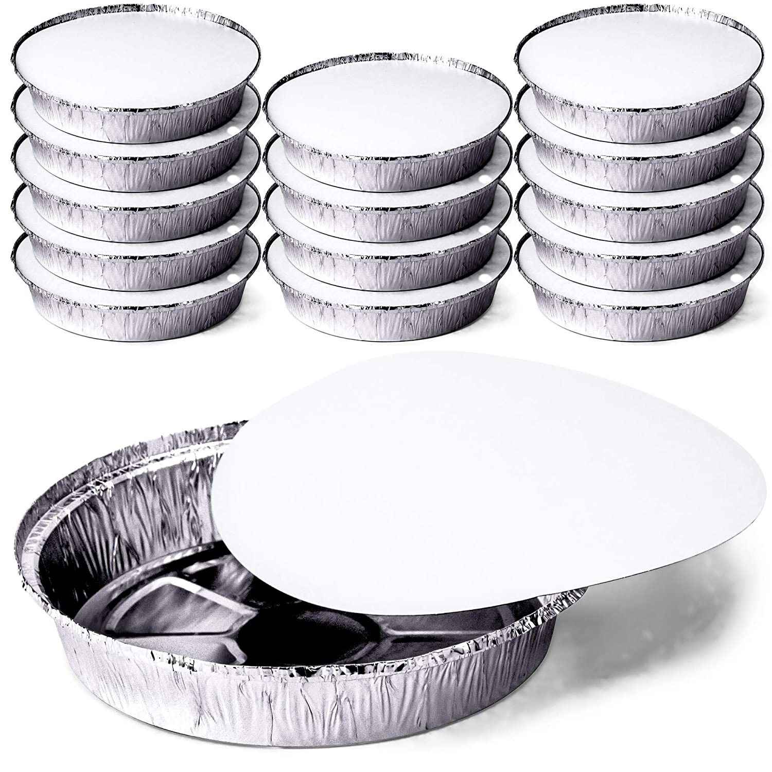 Roasting Perfect for Reheating to-Go Containers Meal Prep Heavy Duty Tin Foil Pans Environmentally Friendly Pack of 14 Baking DecorRack Round 9 Inch Aluminum Pans with Flat Board Lid