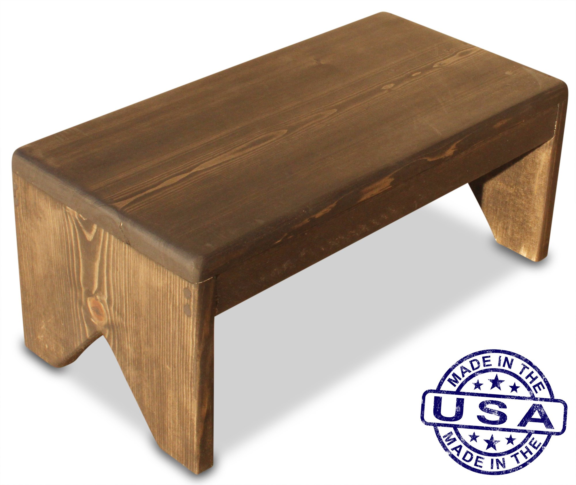 S.B. Handmade - Solid Wood Step Stool, 250 Pound Capacity, Hand Made in U.S.A. (18'' wide x 8'' tall, Ebony)