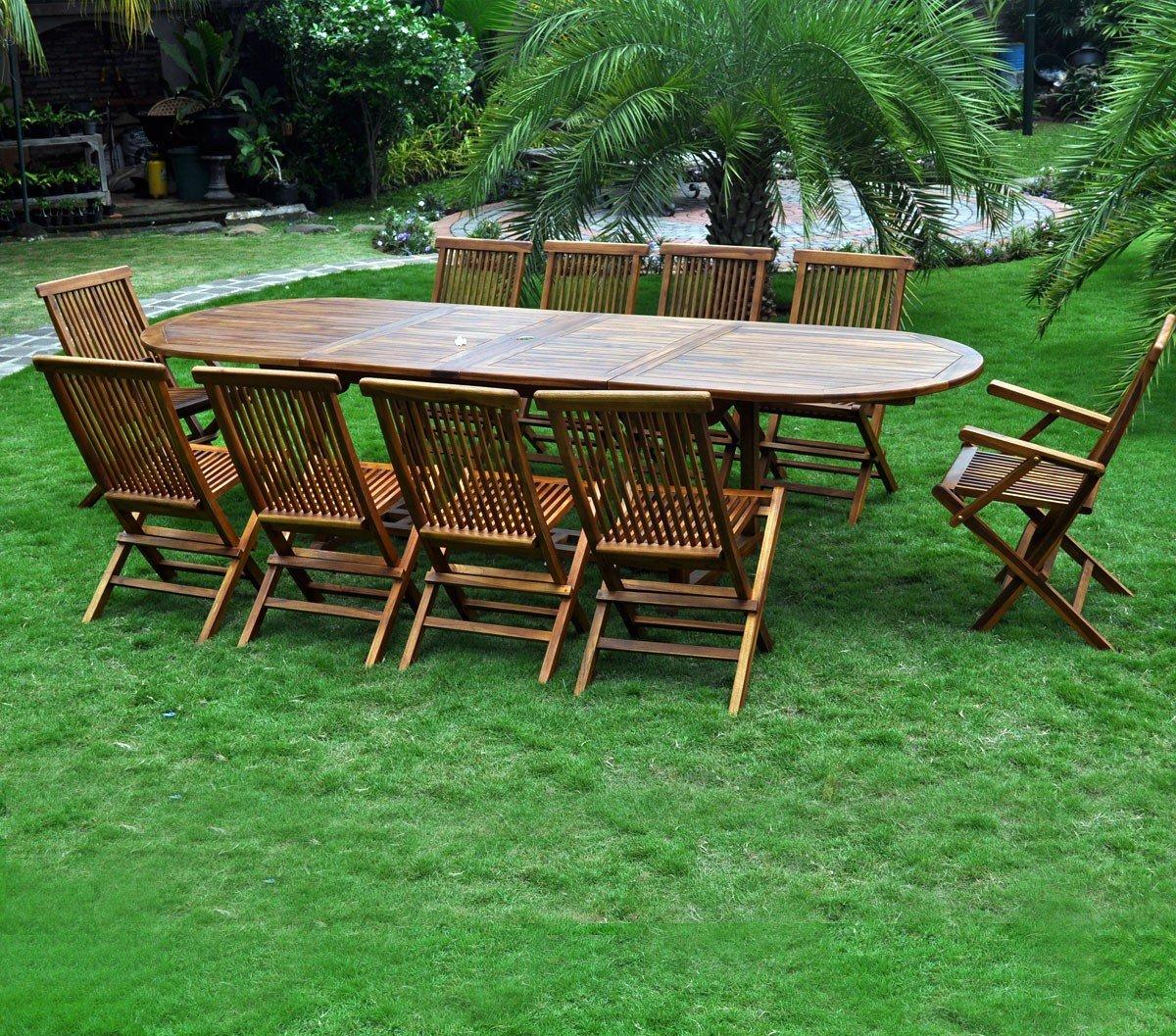 Salon de jardin grande taille 10 places en teck massif huilé