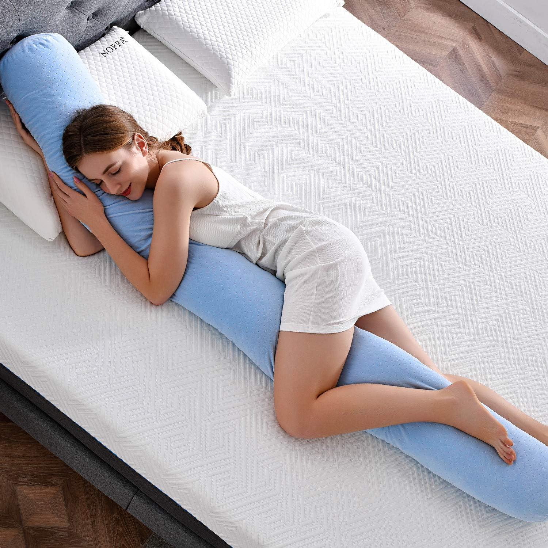 NOFFA Almohada de Cuerpo Completo de Forma Larga, Almohada de Almohada de Maternidad de Espuma de Memoria triturada, Almohada de Apoyo para Dormir para Adultos/Mujeres Embarazadas (200 x 20 x 20 cm)