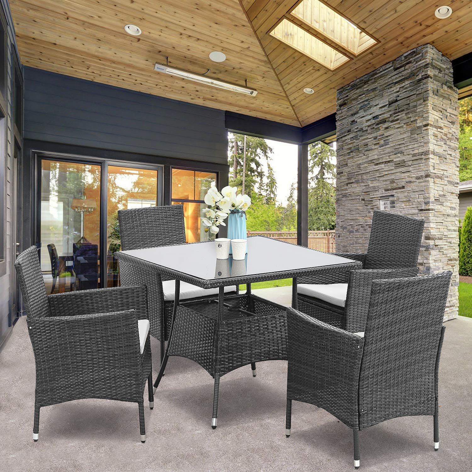 Wisteria Lane 5 Piece Outdoor Patio Dining Set, Wicker Glassed Table and Cushioned Chair, Umbrella Cut Out,Grey