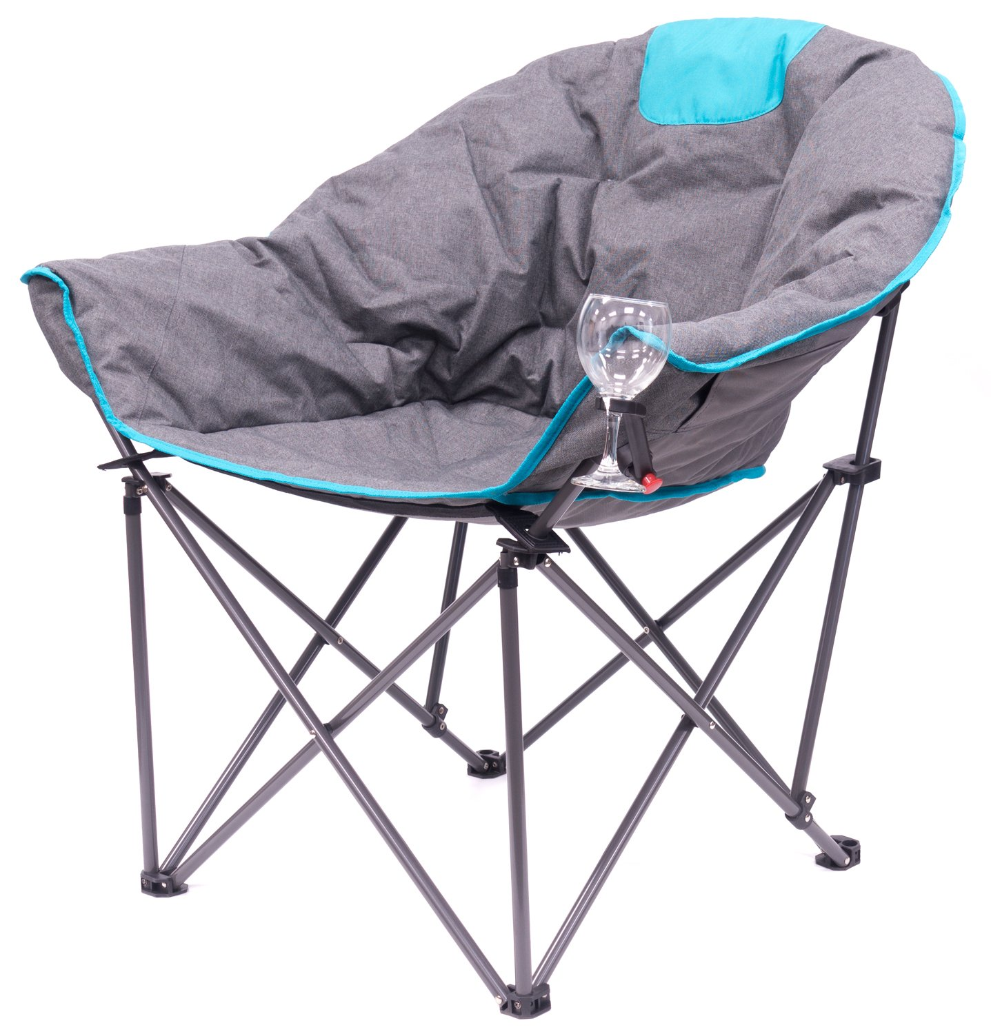 Creative Outdoor Distributors Bucket Wine Chair Moon Chair, Blue Grey