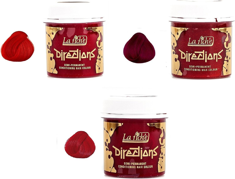 3 X La Riche Directions Semi-Permanent Hair Dye Rubine Poppy Red & Pillarbox Red
