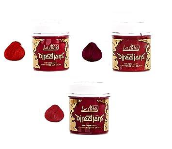3 X La Riche Directions Semi-Permanent Hair Colour Dye Rubine Poppy ...