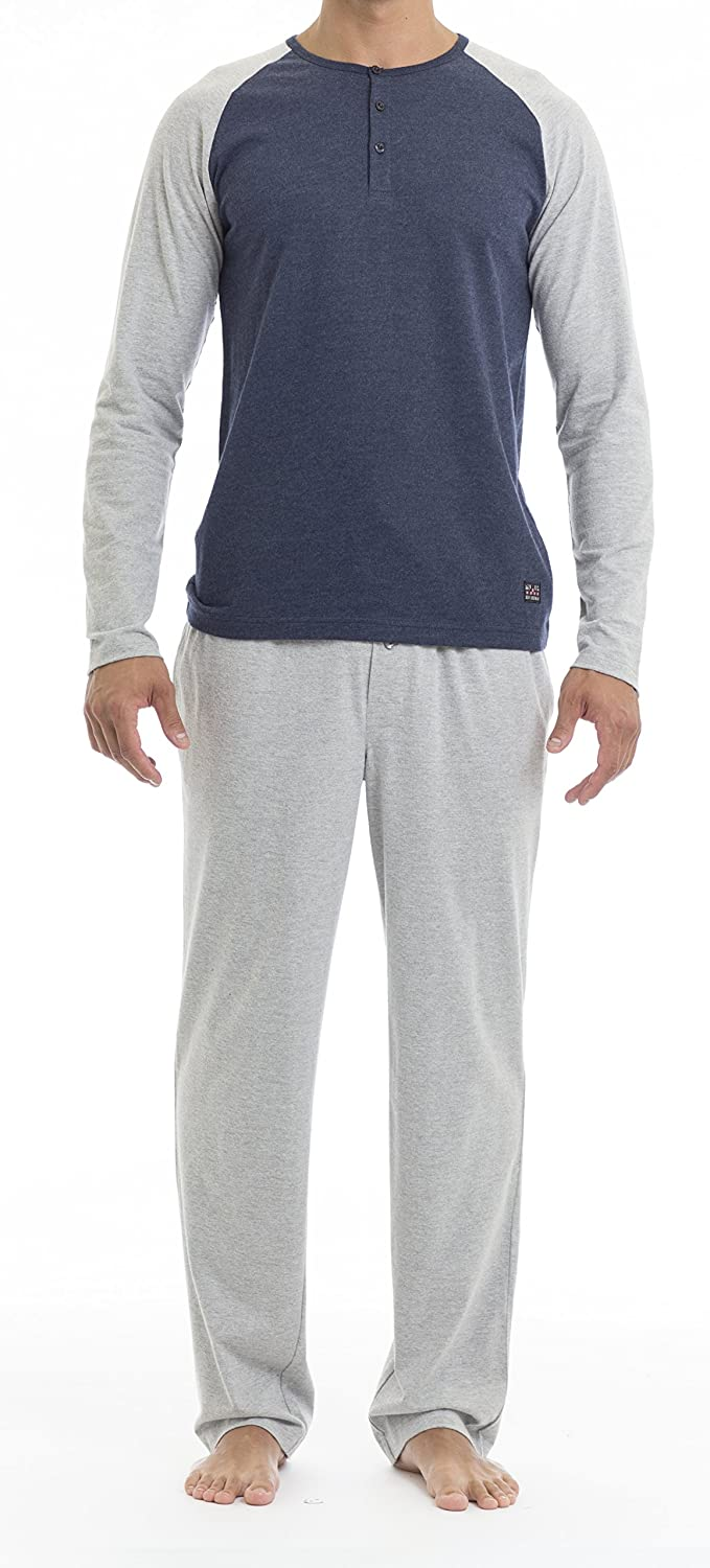 Ben Sherman Sleep & Underwear Men's Long Sleeve Henley & Lounge Pant Set BSM1209