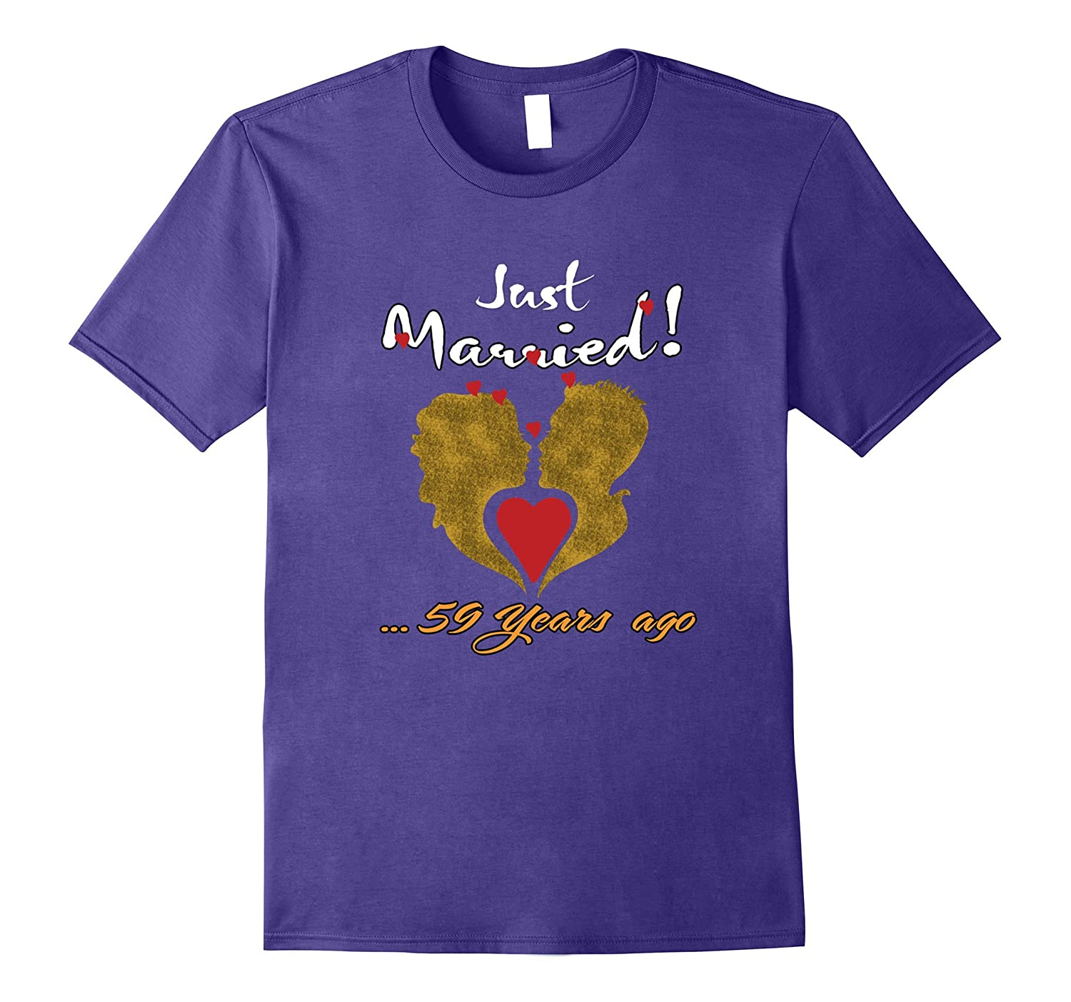 Just 59 Years Married Anniversary T shirt for Wife Husband-PL
