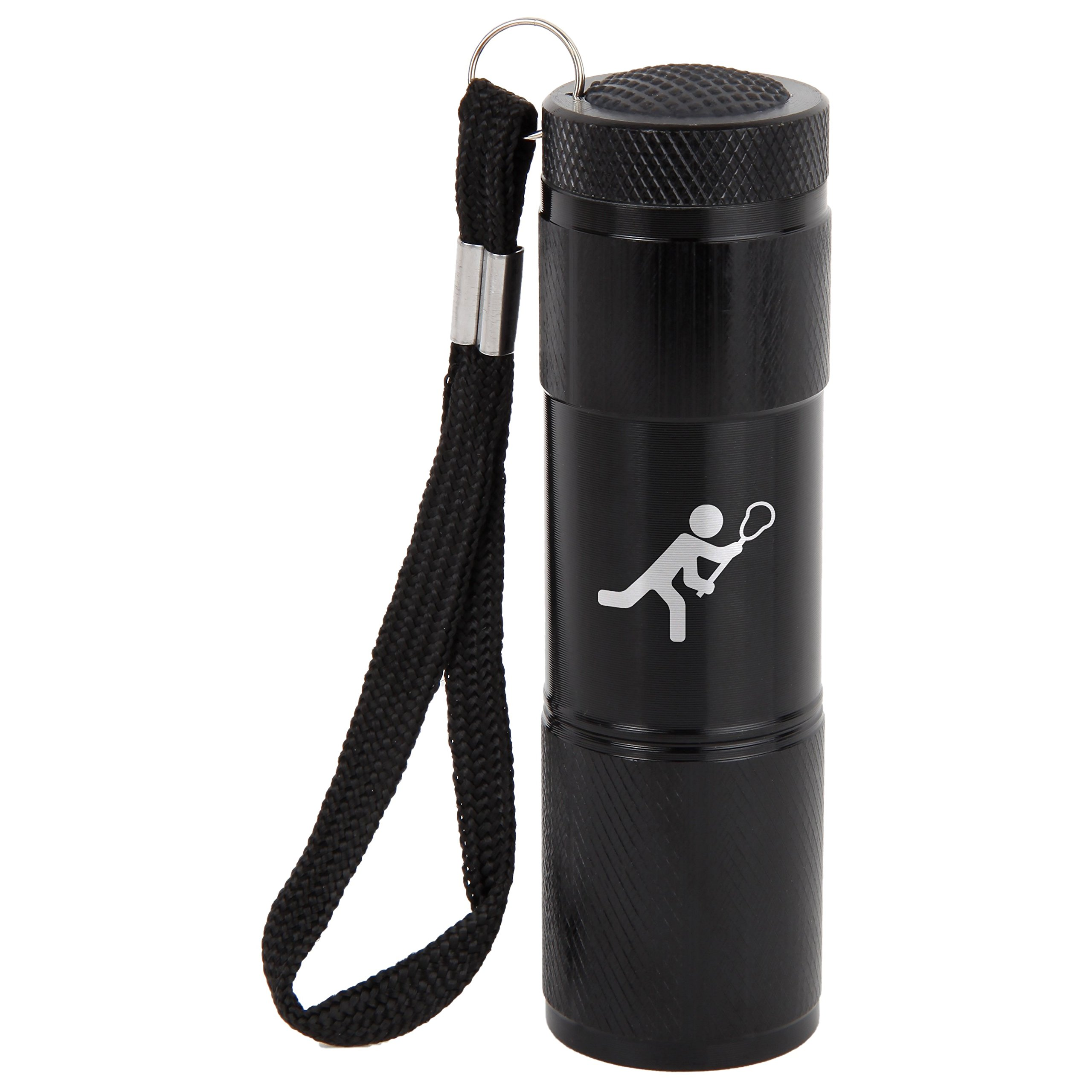 Lacrosse 9-Led Flashlight With Strap - Black Flashlight - Laser Engraved Design - Led Flashlight Keychain - Gift For All Occasions