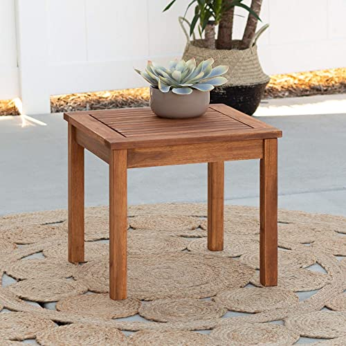 Walker Edison Furniture Company AZWSSTBR Modern Outdoor Patio Wood Side Square End Table All Weather Backyard Conversation Garden Poolside Balcony