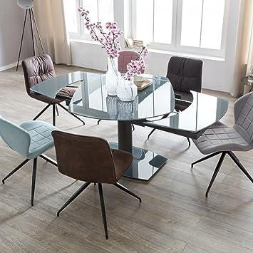Esszimmertisch Noble 120 180 Cm Ausziehbar Dunkelgrau Metall Glas