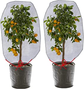 ZOETIROL (3.44 x 2.3 ft) 2 Pieces Bird Barrier Netting Mesh Plant Cover Nylon Netting Garden Plant Barrier Bag Plant Protect Bags with Drawstring for Vegetables Fruits Flower from Bird Squirrels