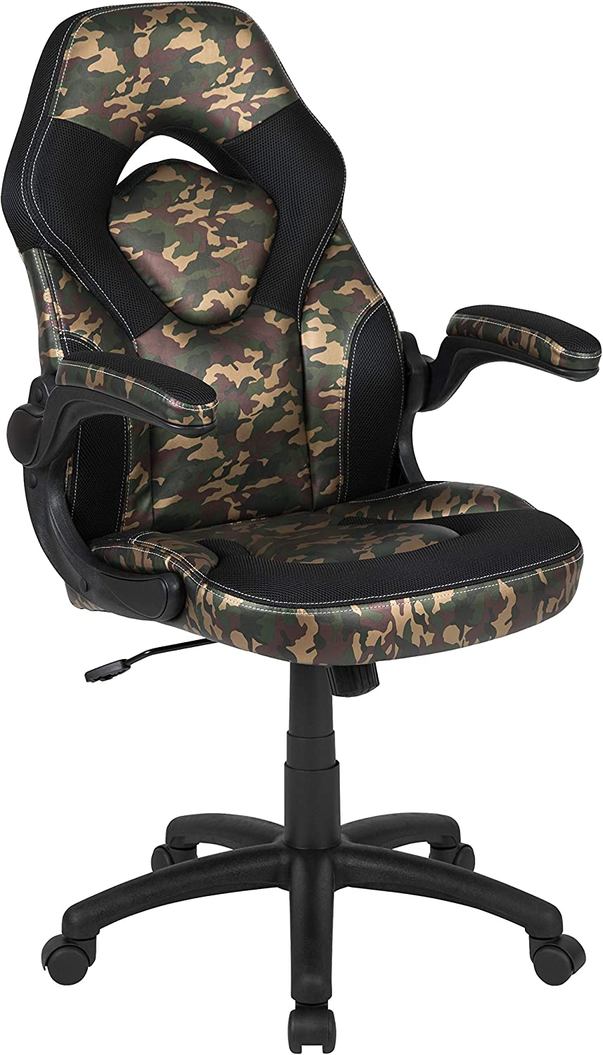 Flash Furniture X10 Gaming Chair Racing Office Ergonomic Computer PC Adjustable Swivel Chair with Flip-up Arms, Camouflage/Black LeatherSoft, BIFMA Certified
