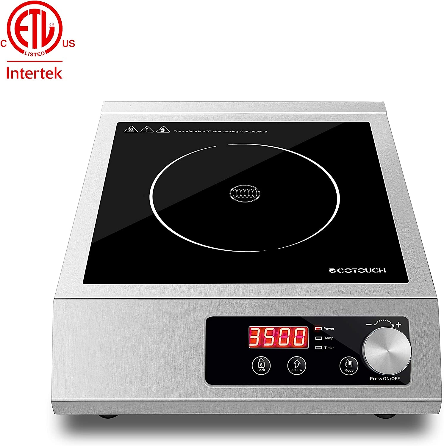 Commercial Induction Cooktop, ECOTOUCH Portable Countertop Burner 3500W Kitchen Electric Range Cooktop Stove Stainless Steel 240V, with Rotary Switch, A80S