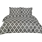 Printed Duvet-Cover-Set - Brushed Velvety Microfiber - Luxurious, Comfortable, Breathable, Soft & Extremely Durable - Wrinkle, Fade & Stain Resistant - Hotel Quality By Utopia Bedding (Queen,Grey)