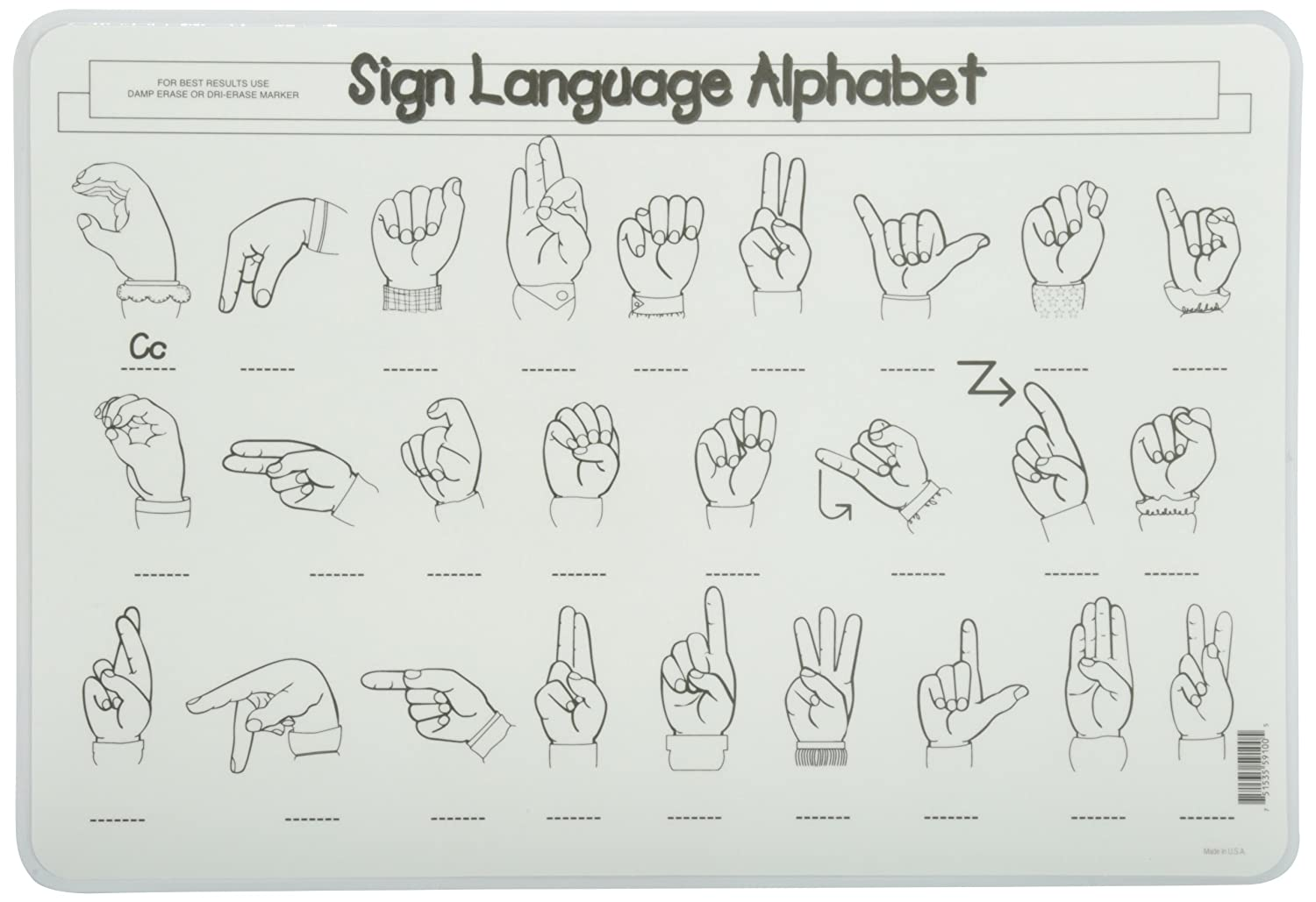Amazon painless learning sign language alphabet placemat amazon painless learning sign language alphabet placemat home kitchen altavistaventures Image collections