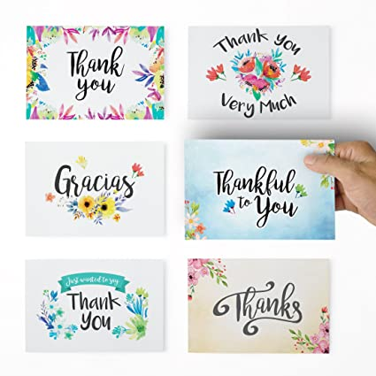 Amazon Thank You Cards 36 Floral Thank You Notes For Your