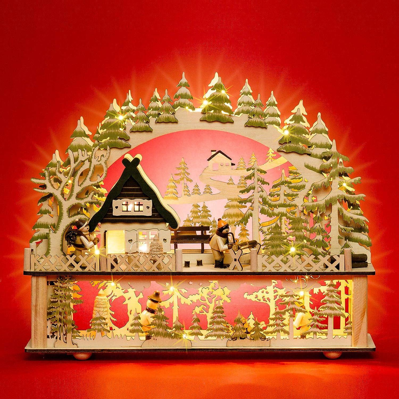 Sikora LB88 beleuchteter LED Holz Schwibbogen WALDHAUS inklusive Trafo