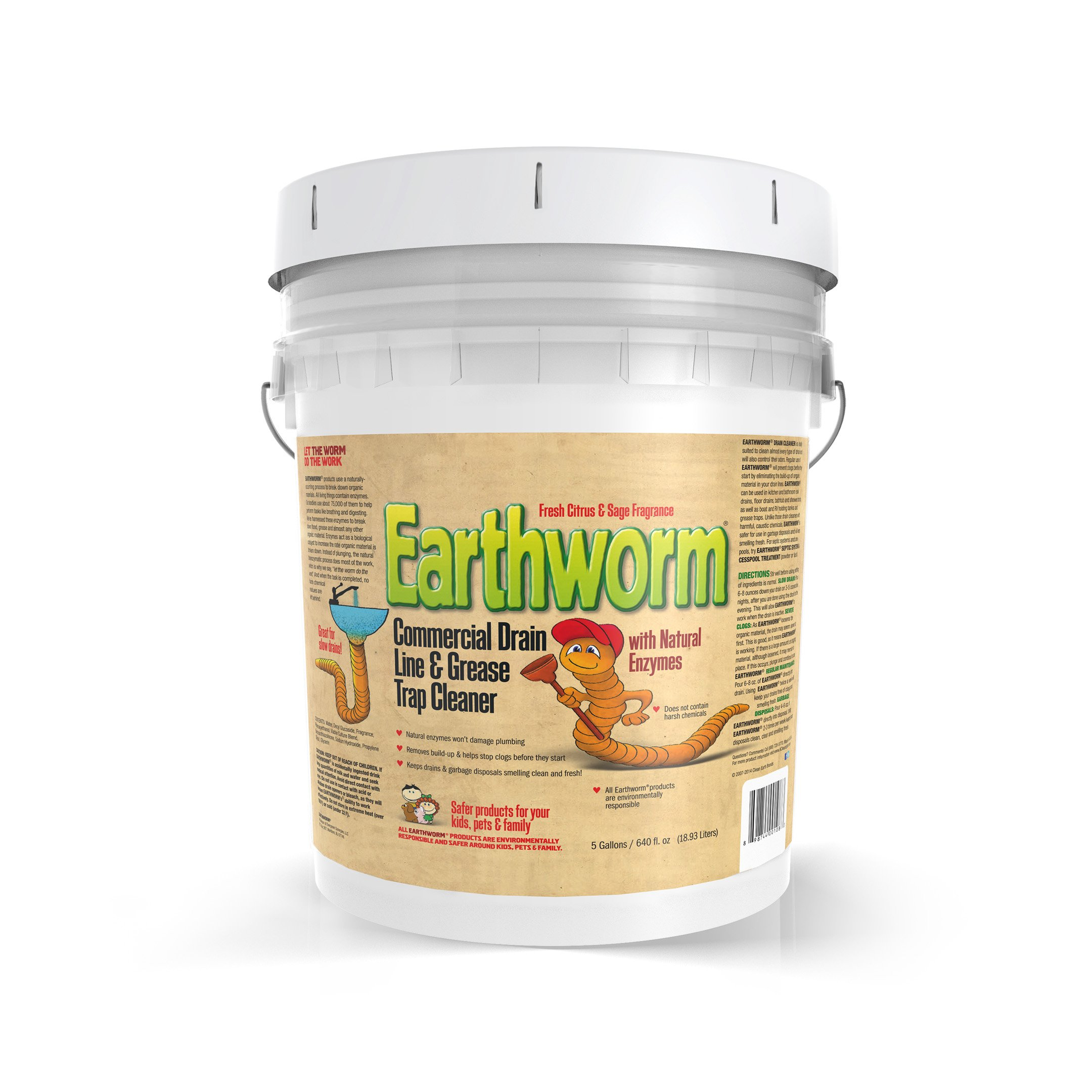Earthworm® Commercial Drain Line and Grease Trap Cleaner - Clog Remover - Drain Opener / Deodorizer - Natural Enzymes, Environmentally Responsible - 5 Gallon Size 5-Gallons