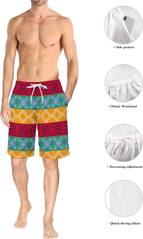 Mens Lightweight Slim Fit Quick Dry Beach Shorts American Flag Baseball Surf Beach Pants with Mesh Lining